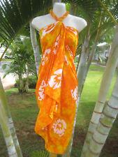 Hawaii Sarong Plus Size Orange Hibiscus Coverup Pareo Beach Pool Wrap Dress
