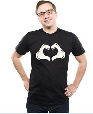 Unisex Cartoon Hand Heart, Blacks,Cotton Blends(Adult's & Kids Size :S,M,L XL)