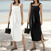 Women Sleeveless Ladies Strappy Cotton Beach Maxi Sundress Split Dress plus size