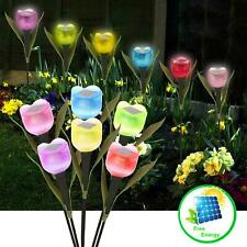LED Solar Powered Garden Lights Outdoor Stake Patio Post Pathway Flower Light 6X