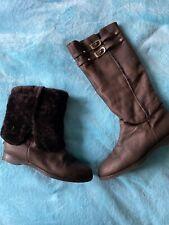 JIMMY CHOO Beautiful Brown Leather Sheepskin Details High Boots Size 39 UK 6