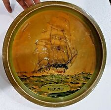 Vtg Player's Clipper Cigarettes tobacco Advertise tin Serving TRAY England Boat