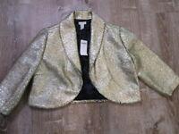 Chicos Blazer Size 1 Metallic Gold Shimmer cropped jacket bolero New