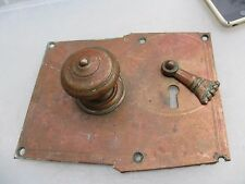 Georgian Copper Door Knob Handle Pull Plate Architectural Antique Etched Bronze