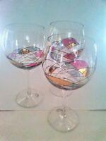 "3 EUROGLASS crystal MILANO NOIR pattern Balloon Wine Goblets  8-1/8"" X 3"""