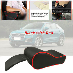Car Armrest Box Mats PU Leather Console Pad Liner Cushion Cover Black with Red