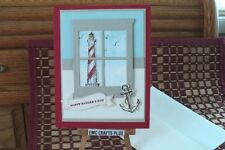 HAPPY FATHER'S DAY HANDMADE GREETING CARD~ LIGTHOUSE #emc043 STAMPIN UP