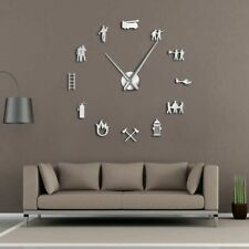 Diy Giant Wall Clock Antique Style Firefighter Design Office Home Decoration