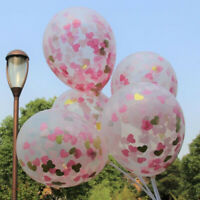 "10PC 12"" Pink Gold Heart Confetti Latex Balloon Wedding Birthday Hen Party Decor"