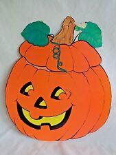 "Vintage Halloween Paper Decoration 12"" PUMPKIN Jack O Lantern with Glowing Smile"