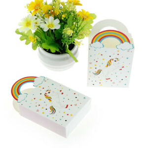 10X Rainbow Unicorns Gift Box Party Candy Box Packages Kids Birthday Decor EI