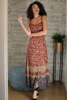 NWT Angie Open Back Tie Print Floral boho Summer Fall Maxi Beach Button Dress