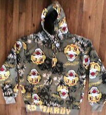NWT Ed Hardy Graphic Hoody, Olive w/Tiger Heads, Sz 2XL, 100% Cotton (H-2)