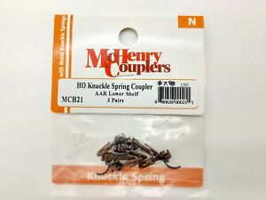 HO Knuckle Spring AAR Lower Shelf Couplers (3-Pair) - McHenry #MCH21