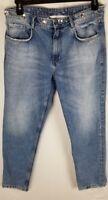 Women's Zara Trafaluc Denimwear Jeans Embroidered Frayed Straight Leg Size 10