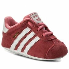 Adidas Gazelle Crib Infants Trainers Toddlers Shoes 3 Stripe Sneakers Pink Suede