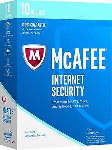 McAfee 2017 Internet Security 10 Device 1 Year Sub - Mac PC Smartphones Tablets