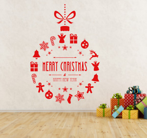 Merry Christmas & Happy New Year Bauble Shop Window Wall Decal Vinyl sticker