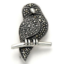 Sterling Silver Marcasite Owl on a Branch Pin - MPN120