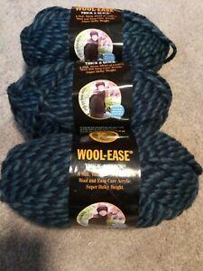 3 Skeins Lion Brand Wool-Ease Thick & Quick Yarn #194 Denim Twist Acrylic/Wool