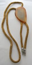 """Vintage BOLO TIE 2 5/8"""" Translucent Flat Agate Stone w/ Brown Braided Cord"""