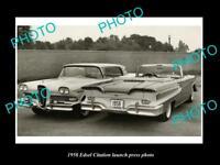 OLD LARGE HISTORIC PHOTO OF 1958 EDSEL CITATION CAR LAUNCH PRESS PHOTO