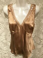 SUNNY LEIGH Gold Beige Silk Top Sleeveless Sequins Blouse 38 Bust Large L