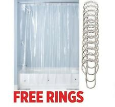 clear shower curtain liner vinyl resist mildew metal grommets