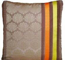 Designers Guild Silk Cushion Cover Perrault Cocoa Yellow Orange Stripes Woven