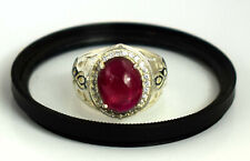 925 Silver 9.44 Ct Cabochon Burma Red Ruby Natural Ring Very Shinny & Lustrous