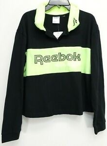New Reebok Womens Black Lime 90's Retro Rugby Fleece Collar Long Sleeve Polo S