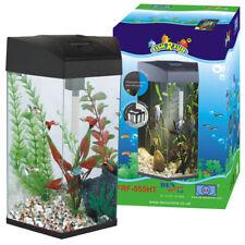 Fish R Fun Hexagon 28L Black Aquarium Fish Tank Starter with LED, Filter