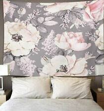 Tapestry Pink Flowers and Leaves on Watercolor Floral Pattern Rose Home Decor