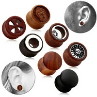 1 Holz Plug Double Flared Tunnel Piercing Dehner Ohrstecker Bis 16mm Ohr Flesh