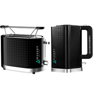 Mussen Toaster 2 Slice & Cordless 1.7L Kettle Jug Black Silver Kit Electric Set