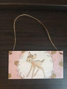 Handmade Wooden Disney Bambi Hanging Wall Door Sign Plaque Gift Nursery Decor