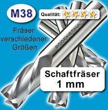 Fräser 1mm 2S.51mm f. Edelstahl Alu Messing Kunstst. hochlegierte Qualität M38