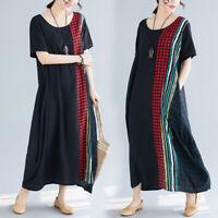 Vintage Summer Women Short Sleeve Casual Loose Plus Size Cotton Linen Long Dress