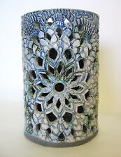 Lace Design Candle Holder Ceramic Hand Built Cutwork 5 to 6 Inches Signed