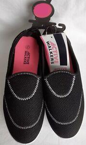 Ladies - Slip On - Canvas Shoes/Pumps - Black - Size 4 - Brand New