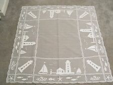 New White Harbor Lights Lace  Design Table Topper 42 x 42