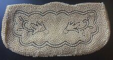 VINTAGE LE JULE WHITE BEADED CLUTCH BAG PURSE - ZIPPER - EVENING, PARTY, HOLIDAY