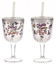 Halloween Acrylic Wine Glasses with Lids and Straws