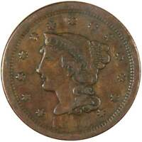 1850 Braided Hair Large Cent F Fine Copper Penny 1c US Type Coin Collectible
