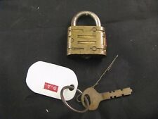 VINTAGE ANTIQUE BRASS PADLOCK W/ KEY MADE IN USA - COLLECTIBLE LOCK
