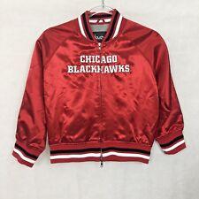 Chicago Blackhawks Jacket Girls Medium Touch By Alyssa Milano Red Satin Zip Up