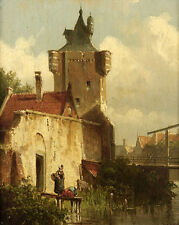 """Hand painted in oil on canvas Oil painting old village landscape with woman 36"""""""