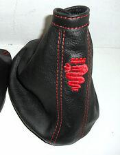 ALFA ROMEO 159 cuffia freno a mano VERA PELLE NERA cuciture rosse Made in Italy