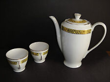 VINTAGE CMIELOW PORCELAIN GILDED TEAPOT WITH 2 CUPS