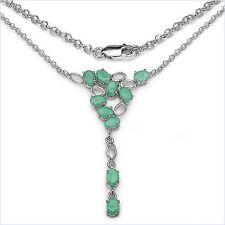 Edles Collier/Kette mit Smaragd (Emerald)-925 Silber-Rhodiniert-4,50 Karat